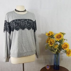 APT. 9  GRAY SWEATSHIRT WITH LACE DETAIL TOP